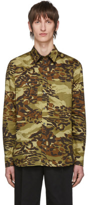 Givenchy Khaki Camouflage Print Shirt