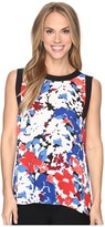 Vince Camuto Sleeveless Nautical Blooms Blouse with Solid Contrast
