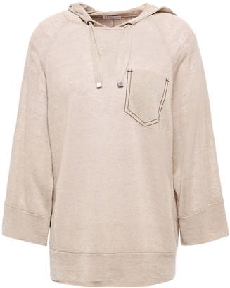 Brunello Cucinelli Bead-embellished Linen-blend Hooded Sweater