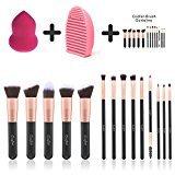 Makeup Brushes Powder Foundation Concealer Eyeliner Makeup Brush Set Cosmetics Tool with Beauty Sponge Blender Cleaner Rose Gold 14 Pcs
