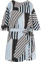 River Island Womens Blue stripe tie waist cold shoulder playsuit