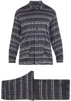 Meng Geometric-print Silk-satin Pyjama Set