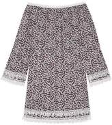 Miguelina Tammy Crochet-Trimmed Floral-Print Cotton-Voile Mini Dress
