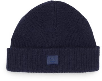 Acne Studios Face-patch Ribbed Wool-blend Beanie - Navy