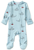 Angel Dear Baby Boys Newborn-6 Months Shark & Friends Footed Coverall