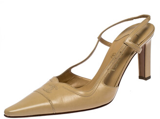Chanel Beige Leather Pointed Toe Slingback Sandals Size 37.5