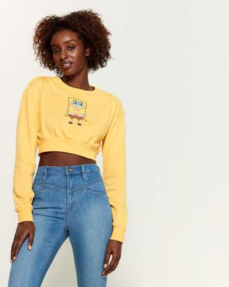 Nickelodeon Spongebob Cropped Crew Neck Sweatshirt