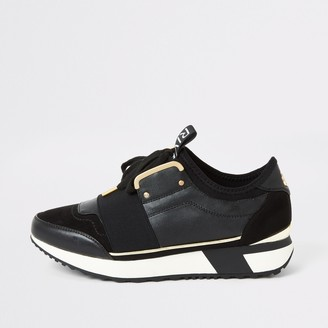 River Island Womens Black elasticated lace-up runner trainers