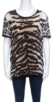 Roberto Cavalli Animal Printed Jersey and Silk Short Sleeve Top L