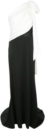 Tadashi Shoji Bi-Colour Pleated One-Shoulder Gown