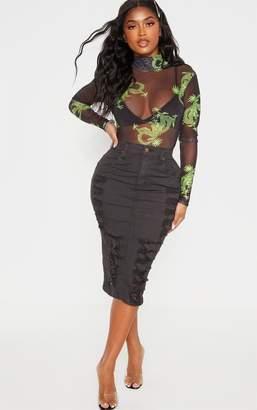 PrettyLittleThing Shape Washed Black Distressed Detail Denim Midi Skirt