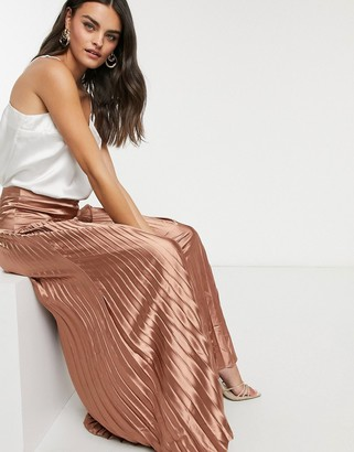 Vila pleated satin maxi skirt in bronze