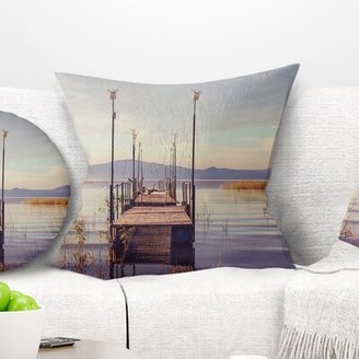 """clear East Urban Home Bridge Wooden Boardwalk to Sea Water Pillow East Urban Home Size: 16"""" x 16"""", Product Type: Throw Pillow"""