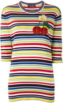 Dolce & Gabbana cherry patch striped top - women - Silk - 40