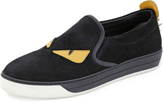 Fendi Men's Monster Slip-On Sneakers, Black