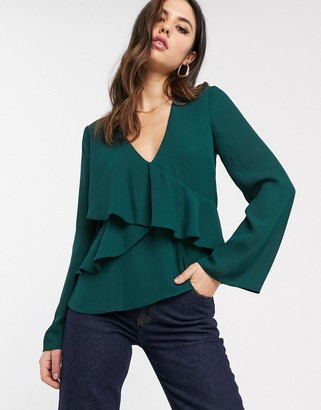 Asos DESIGN long sleeve v neck top with ruffle detail