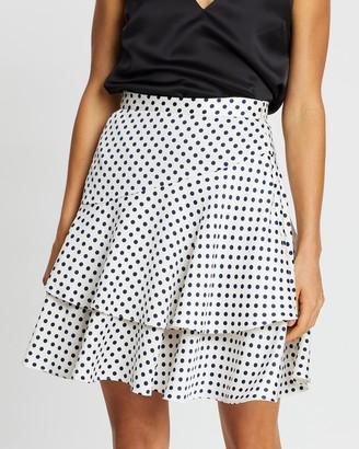ALEXACHUNG Ruffle Polka Dot Skirt