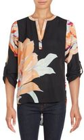 Daniel Rainn Floral Print Roll-Tab Sleeve Top