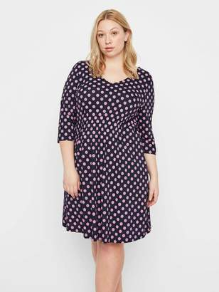 Junarose A-Line Dress w/ Polka Dots in Navy Blue Size Large Polyester