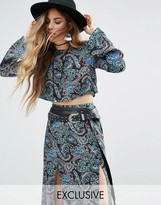 Reclaimed Vintage Inspired Flare Sleeve Crop Top Co-Ord