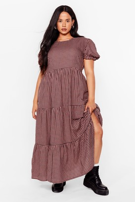 Nasty Gal Womens State of Smock Check Plus Dress - Pink - 16, Pink