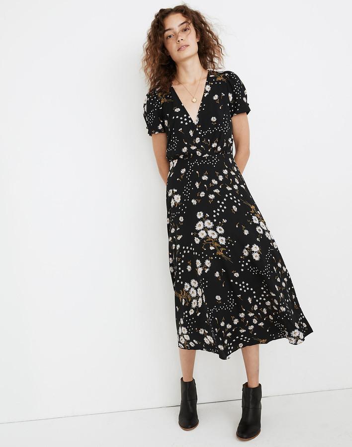 Madewell Puff-Sleeve Wrap-Front Midi Dress in Polka Daisies