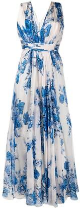 Alberta Ferretti Floral-Print Draped Long Silk Dress