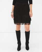 White House Black Market Black Fringe Suede Skirt