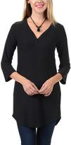 Magic Fit Black Three-Quarter-Sleeve V-Neck Tunic