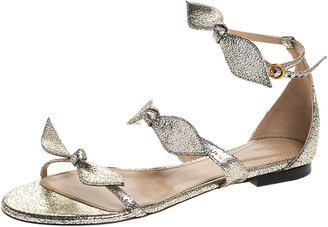 Chloé Metallic Gold Leather Mike Bow Flat Sandals Size 36