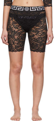 Versace Underwear Black Lace Medusa Boy Shorts