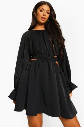 boohoo Cut Out Baloon Sleeve Skater Dress