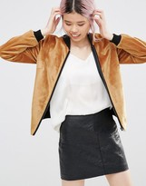 Helene Berman Zip Front Bomber Jacket in Textured Mustard