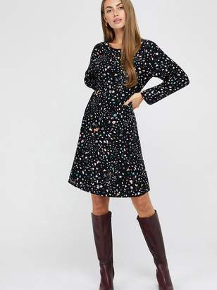 Monsoon Nima Print Midi Dress - Black