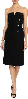 Givenchy Strapless Button-Detail Bustier Midi Dress