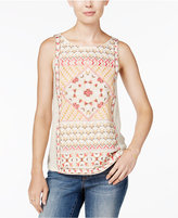 Lucky Brand Short-Sleeve Embroidered Top