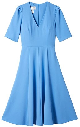 Donna Morgan V-Neck Fit and Flare Crepe Dress (Blue Bonnet) Women's Dress