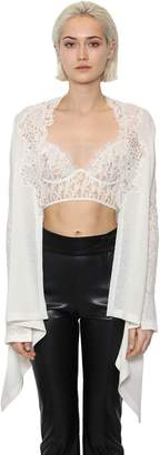 Ermanno Scervino Sheer Lace & Alpaca Blend Knit Cardigan