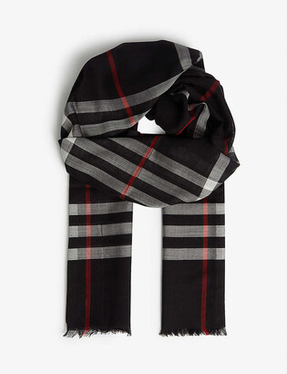Burberry Giant check wool and silk-blend scarf