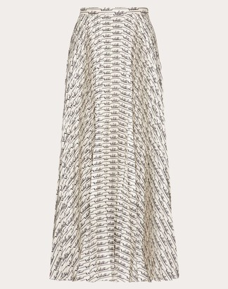 Valentino Printed Twill Pleated Skirt Women Ivory/black Silk 100% 36