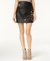 One Hart Juniors' Embroidered Faux-Leather Skirt, Created for Macy's
