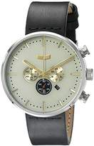 Vestal Unisex RSTCL01 Roosevelt Chrono Stainless Steel Watch with Black Leather Band