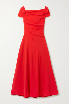 Talbot Runhof Bouklee Ruched Stretch-crepe Midi Dress - Red