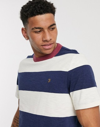 Farah Watson stripe t-shirt in white and blue