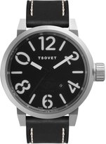 Tsovet LX110110-01 Men's Stainless Steel Men's Leather Band Dial Watch