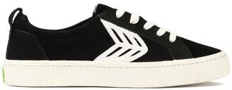Cariuma CATIBA Low Black Suede Ivory Logo Sneaker