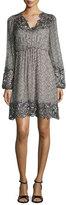 Elie Tahari Tally Long-Sleeve Lace-Trimmed Printed Dress, Multi