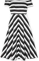 Lela Rose Off-the-shoulder Striped Cotton And Silk-blend Midi Dress - Black