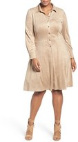 London Times Plus Size Women's Faux Suede Shirtdress
