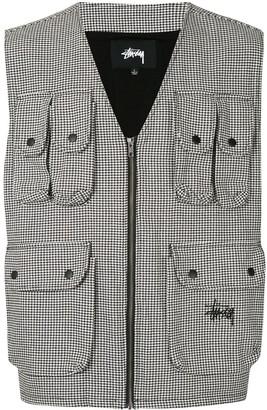 Stussy Houndstooth Patterned Multi-Pocket Work Vest